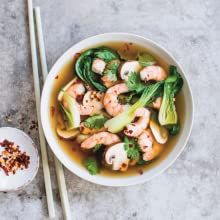 Miso soup with mushrooms and prawns