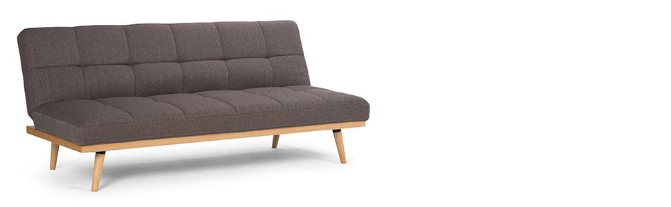 Amazing Simpli Home Axcsof 02 Sbr Spencer Contemporary 72 Inch Wide Sofa Bed In Dark Chocolate Brown Linen Look Fabric Ibusinesslaw Wood Chair Design Ideas Ibusinesslaworg