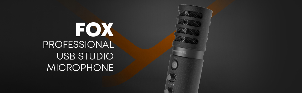 fox usb studio mikrofon schwarz