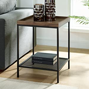 Astonishing We Furniture Industrial Farmhouse Square Side End Accent Table Living Room 18 Inch Grey Caraccident5 Cool Chair Designs And Ideas Caraccident5Info