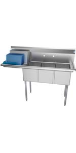 3 compartment commercial stainless steel sink restaurant bay basin tub bowl nsf triple drainboard