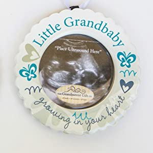 Little Grandbaby Growing In Your Heart Ultrasound Photo Ornament Poem GRANDPAREN