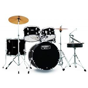 mapex rb5044ftcdk rebel 5 piece drum set with hardware and cymbals black with 20. Black Bedroom Furniture Sets. Home Design Ideas