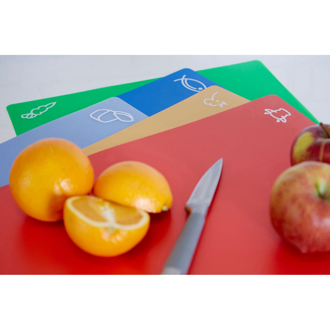The item for sale is premier set of 5 coloured flexible chopping - Displayed Colourful Chopping Mats