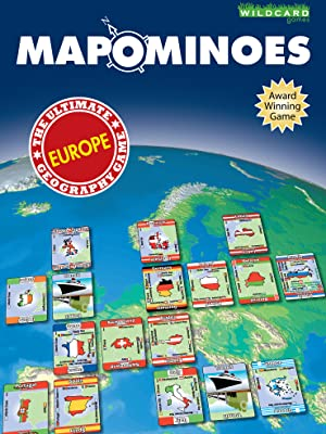 Mapominoes award winning geography game with European countries box cover