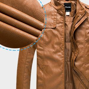 Nantersan Mens Leather Jacket Stand Collar PU Mens Faux Fur Coats Motorcycle Jacket