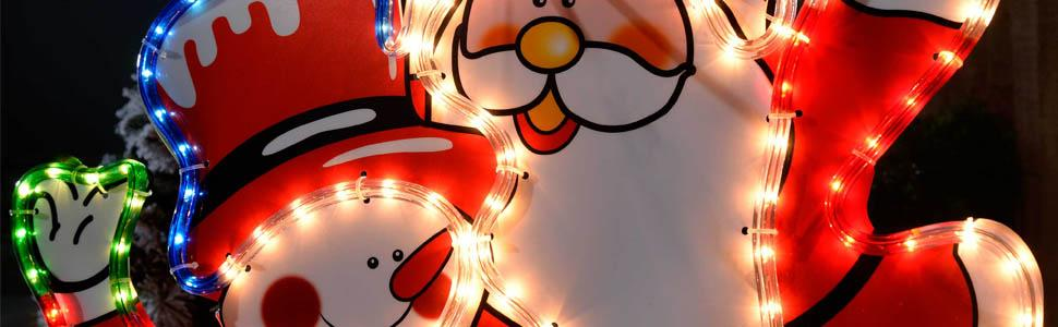 Werchristmas santa and snowman rope lights silhouette christmas santa and snowman pvc silhouette aloadofball Gallery