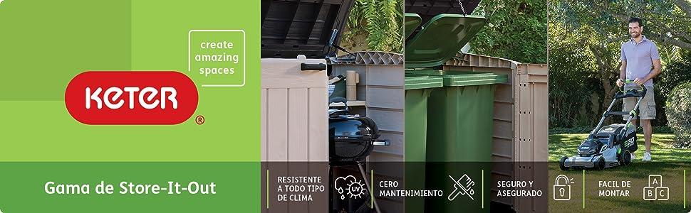 Keter Cobertizo de Jardín Exterior Sio Ultra, Capacidad 2000 litros, Color topo y beige: Amazon.es: Jardín
