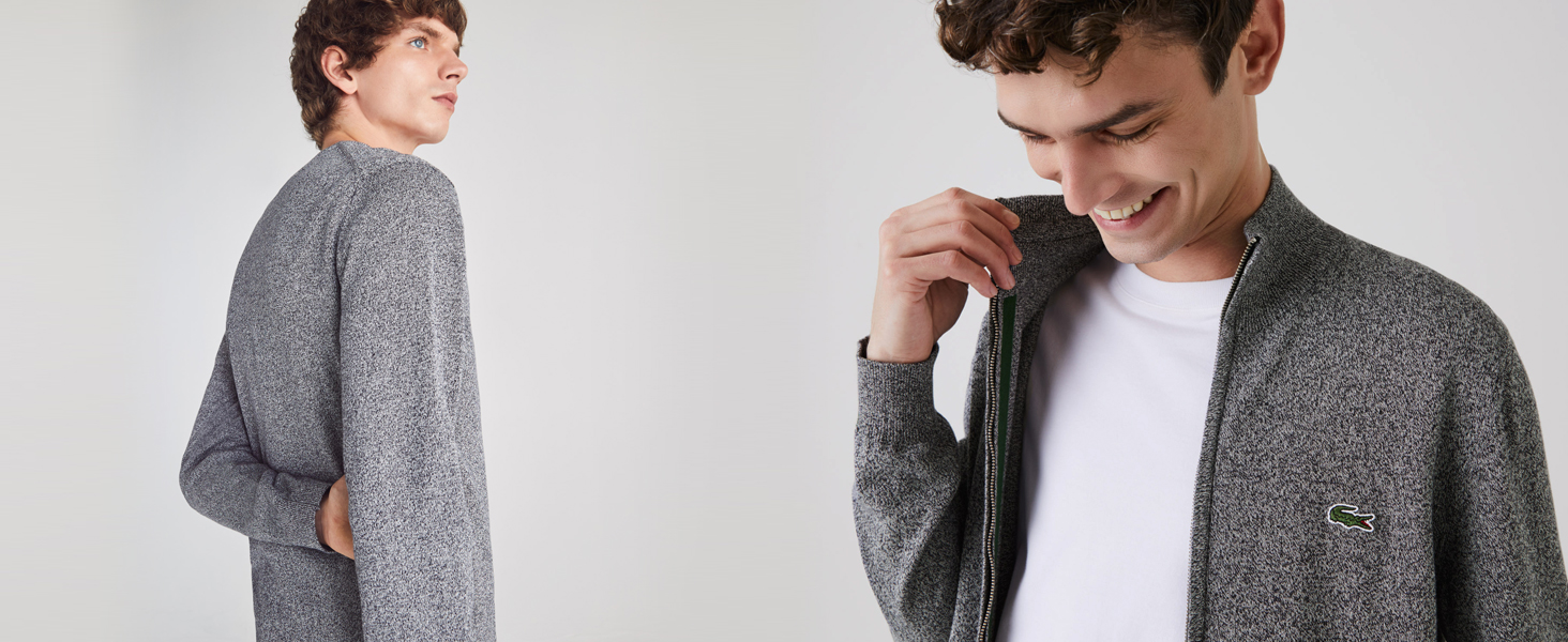Two men in grey heathered Lacoste pullovers