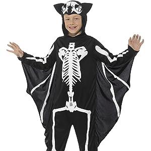 Smiffys-55012M Disfraz de Esqueleto, con Traje Entero con Capucha, Color Negro, M-Edad 7-9 años (SmiffyS 55012M)