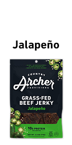 Jalapeno 100% grass-fed beef jerky, country archer, hot spice level, gluten free
