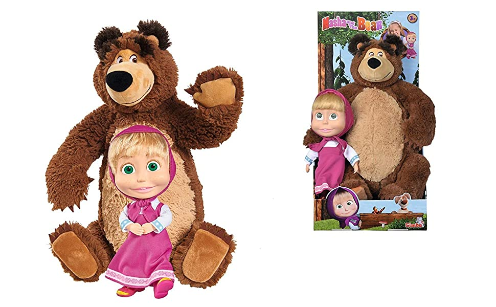 Muñeca Masha de 23cm y peluche del Oso de 43cm de Masha y el Oso