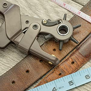 heavy duty revolving leather hole punch tighten belts rivets leather craft leathercraft