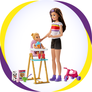 Buy Barbie Ghv87 Skipper Babysitters Inc Feeding Playset With Skipper Doll Toddler Doll With Feeding Feature High Chair Tricycle And Food Themed Accessories Online At Low Prices In India Amazon In