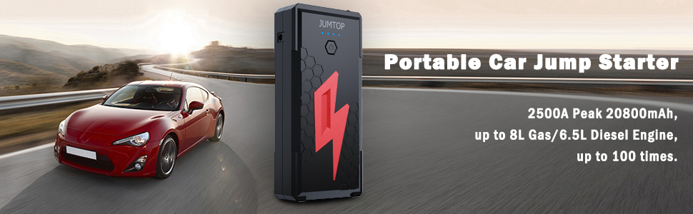 JUMTOP 2500A Peak 20800mAh Portable Car Jump Starter 8.0L Gas//6.5L Diesel Engin