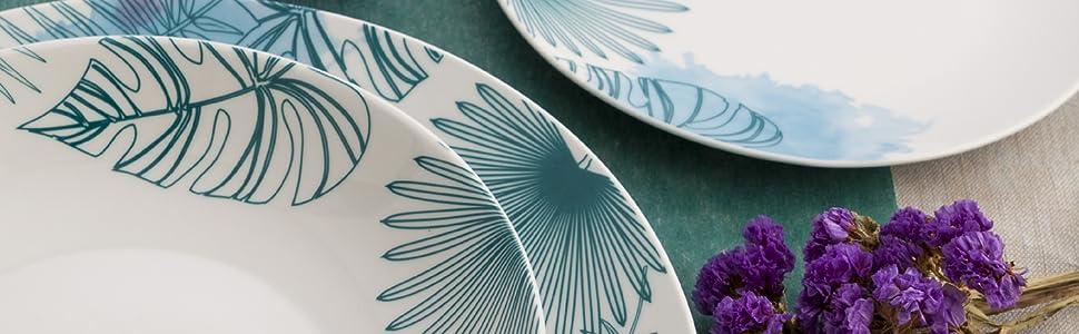 Bidasoa Bahía Vajilla de porcelana para 6 personas, 18 piezas, ala decorada, Blanco/Azul