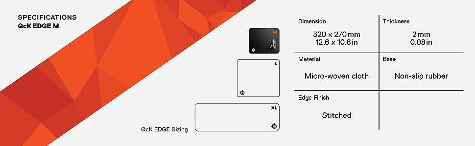 SteelSeries QcK Edge - Alfombrilla de ratón para juegos - Costuras antidesprendimiento