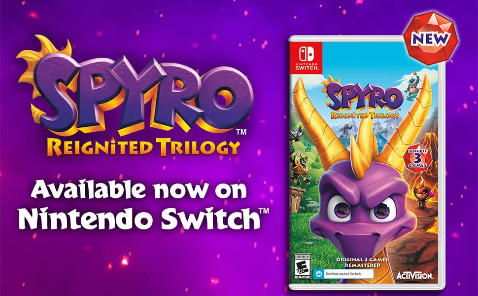 spyro, reignited trilogy, purple dragon, nintendo, switch, available now