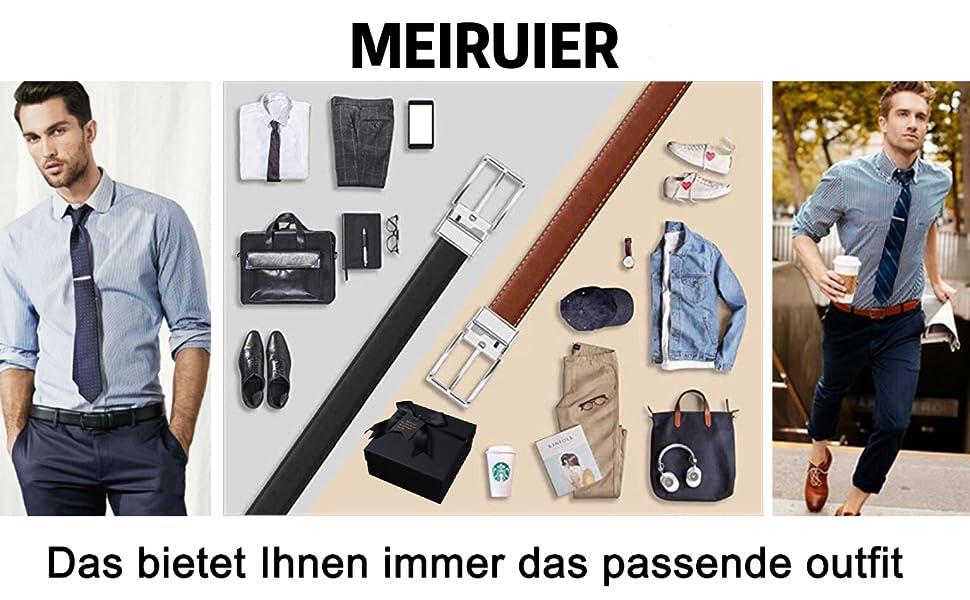 MEIRUIER Cuero Cinturón Reversible,Perfecto Regalo,Cinturon Hombre Cuero Negro Marrón Jeans Reversible Piel para Hombres Clásico Negocios Casual