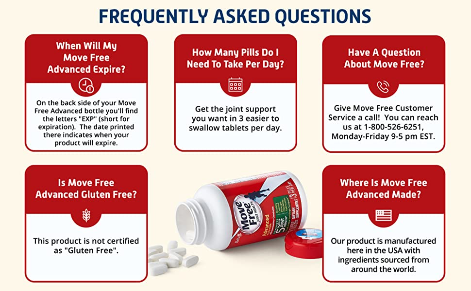 Frequently asked questions. Is Move Free Gluten Free? No.  Where is Move Free made? Here in the USA.