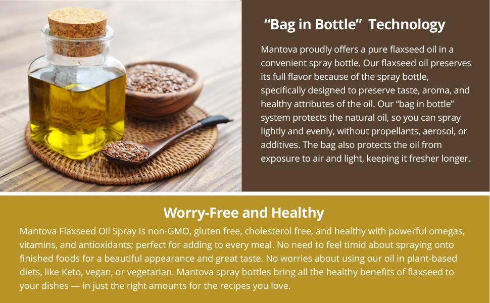 Flaxseed Oil, Mantova, non-GMO, gluten free, cholesterol free, flaxseed
