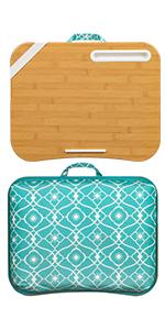designer, lapdesk, lapgear, beige, strap, device ledge, pattern fabric, laptop, phone slot