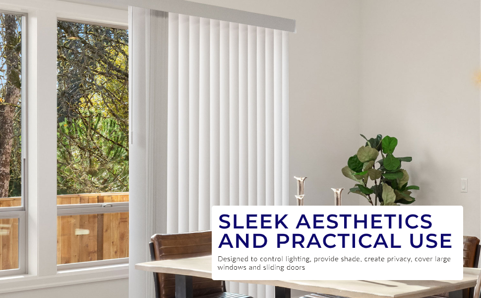 Chicology Cordless Vertical Blinds // 78W X 84H PVC Curtain Drape Window Shade Cascading White Variable Light Control