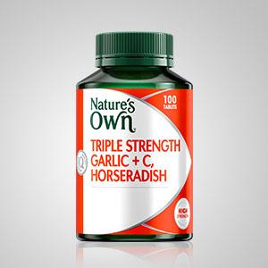 Nature's Own; Nature's Own triple strength garlic + C, horseradish; herbal medicine;