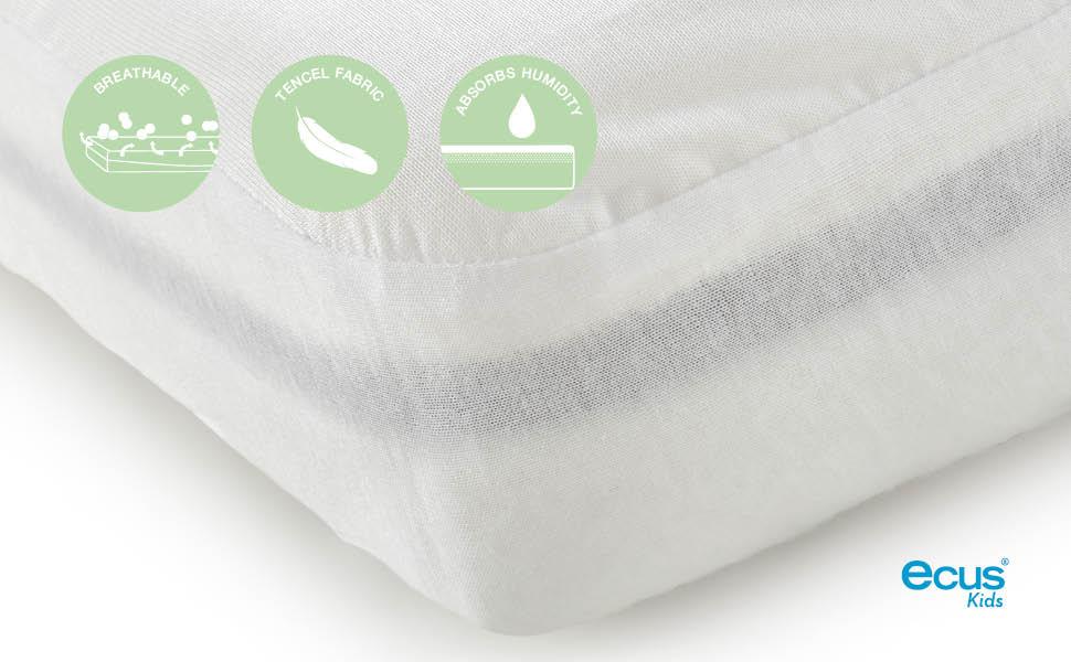 Ecus Kids Soft 3 en 1 - Protector colchón , Blanco, 75x52