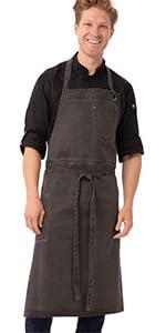 Chef Works Unisex Dorset Chefs Bib Apron, Pewter