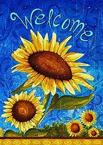 welcome;sunflower;yellow;blue;flower;floral;spring;summer;cute;beautiful