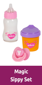 adora, accessories, toys, sippy set, magic set, accessories, toy accessories, doll accessories