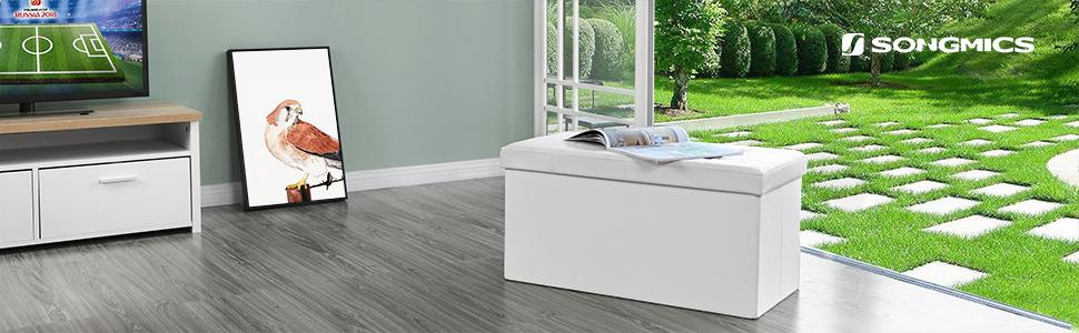SONGMICS Baúl Puff Taburete para almacenaje Plegable Carga máxima de 300 kg Blanco 76 x 38 x 38 cm LSF106