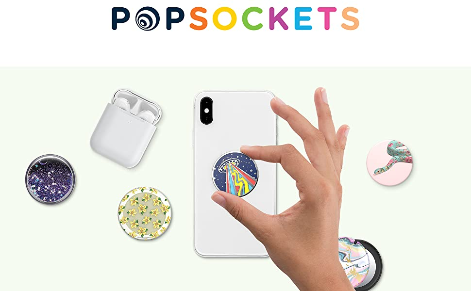 PopSockets Logo showing swappable phone grip tops including a wireless headphone holder.