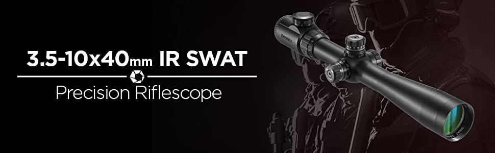 BARSKA AC10814 3.5-10x40 SWAT Tactical 30-mm IR Mil-Dot Riflescope