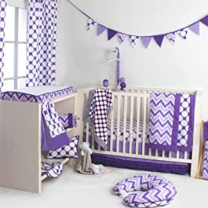 Bacati Purple Zigzag/Dots Bedding Collection