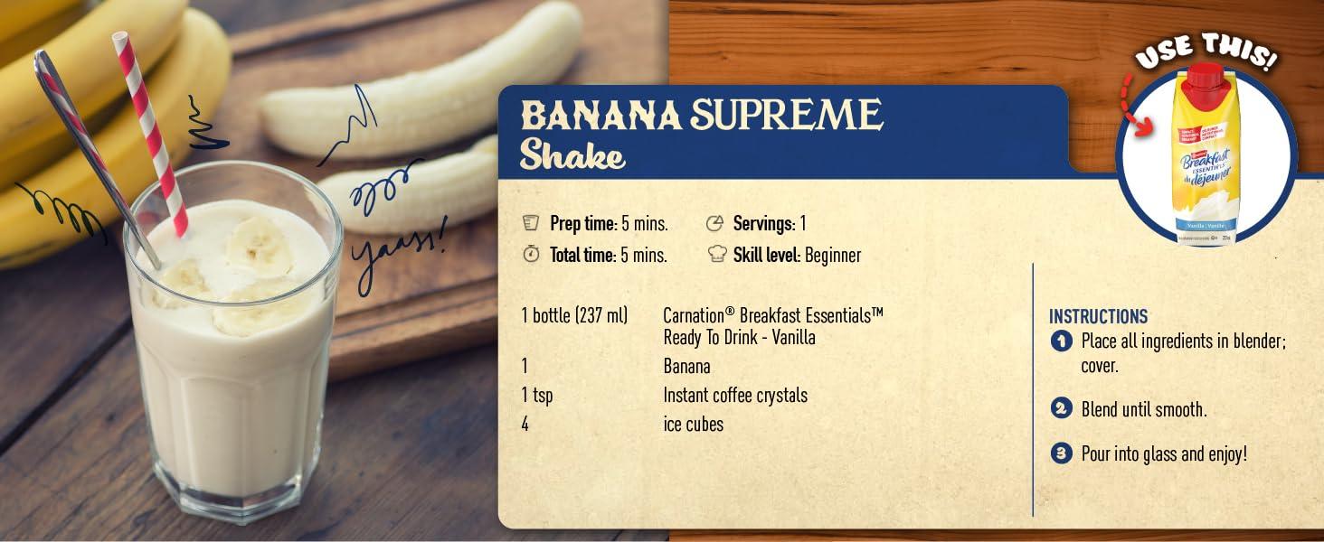 banana supreme shake, carnation breakfast essentials
