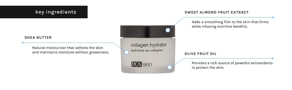 collagen hydrator shea butter olive fruit oil sweet almond extract moisturizer softens soft protect