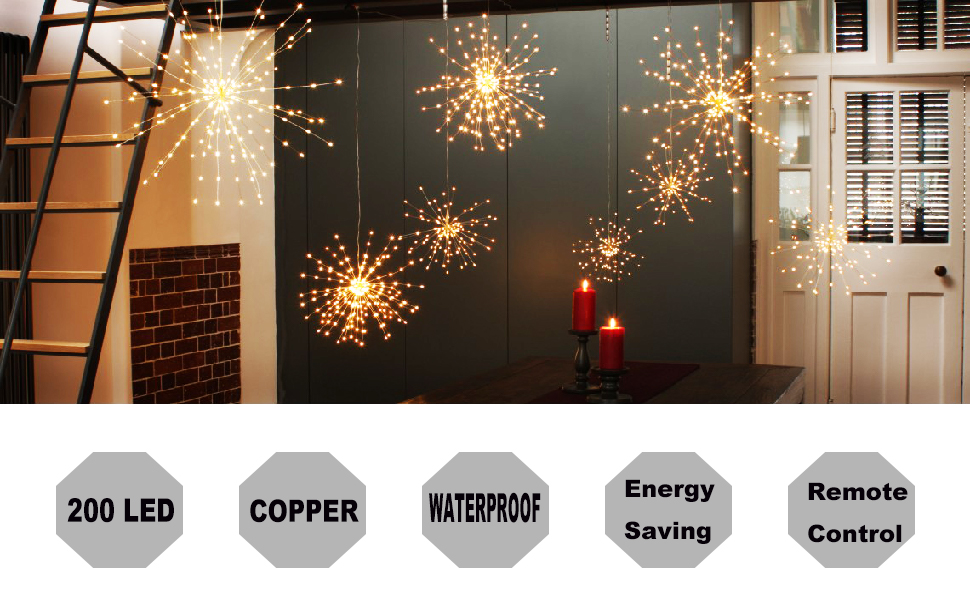 Amazon Com Pxb 2 Pack Starburst Sphere Lights 200 Led Firework Lights 8 Modes Dimmable Remote Control Waterproof Hanging Fairy Light Copper Wire Lights For Patio Parties Christmas 2 Pack Battery Operated Garden Outdoor