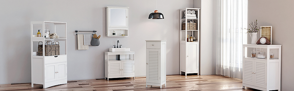 Vasagle Bathroom Storage Floor Standing Cabinet With Shutter Door Adjustable Shelf White Ubbc40wt Amazon Ca Home Kitchen