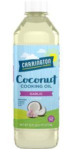 Carrington Farms Liquid Coconut Cooking Oil, Garlic
