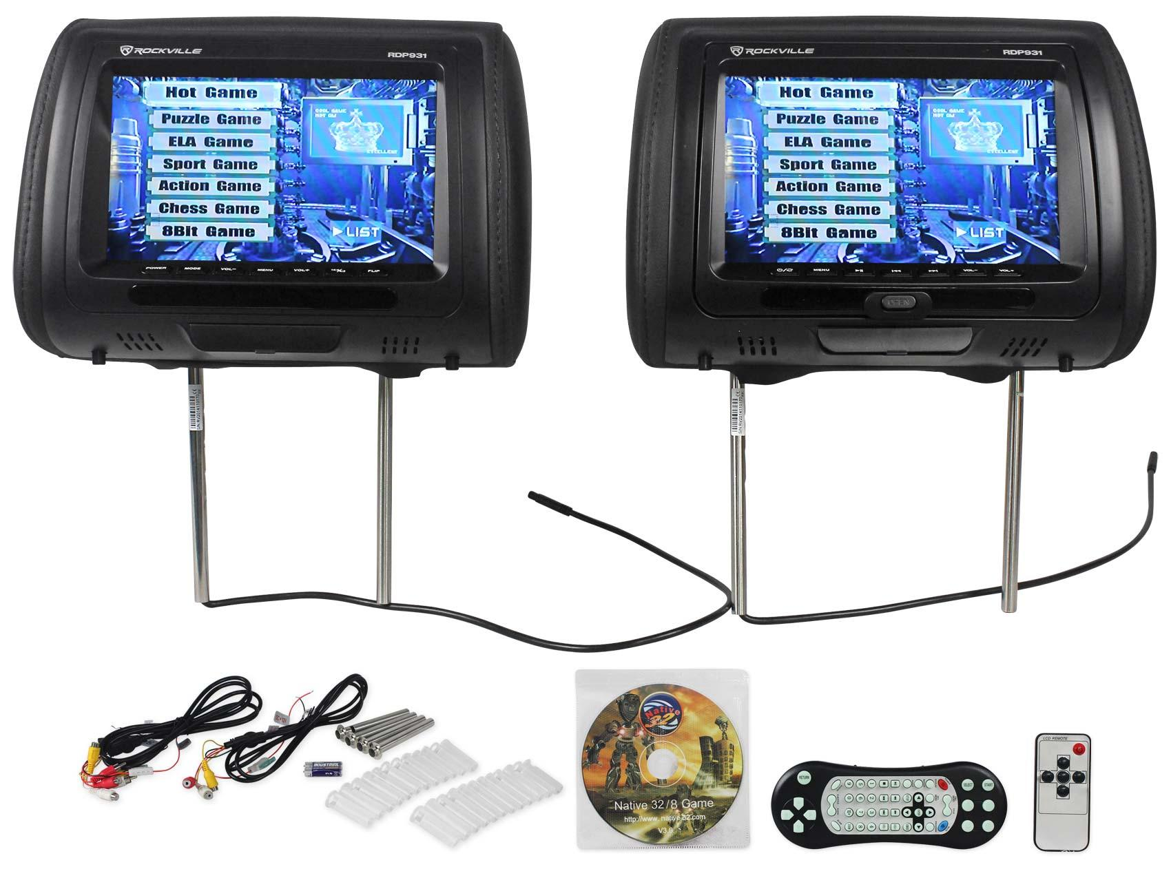 Rockville Rdp931 Bk 9 Black Car Dvd Usb Hdmi Headrest 2002 Chevy Impala Cigarette Lighter Wiring Diagram New Monitors Video Games