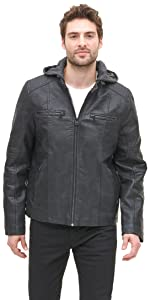Buffed Cow Faux Leather Hooded Racer