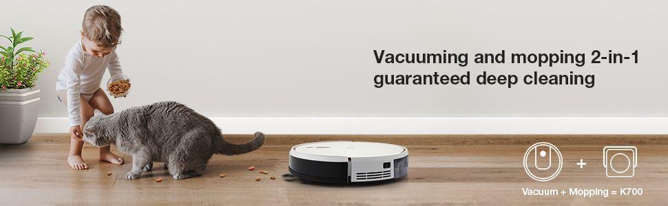 succi/ón de 2500 Pa funciona con Alexa y Google Home navegaci/ón con tecnolog/ía Visual-SLAM para pelo de mascotas alfombras yeedi 2 hybrid Robot Aspirador mapa de la casa con l/ímites virtuales