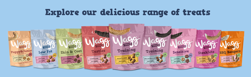 explore our delicious range of wagg dog treats