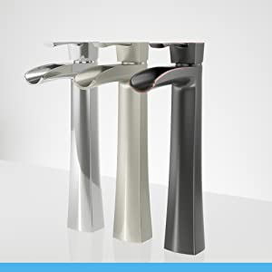 Each vessel faucet has a drilled solid brass base, copper waterways, and ceramic cartridges.