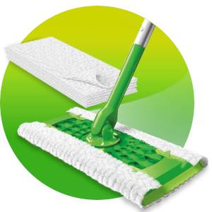 Swiffer. Neemt 3 x meer vuil, stof en haren op en sluit deze in.