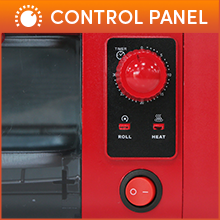 Control Panel 30 minute timer with signal bell & auto-off. Rolling and Heat indicators.