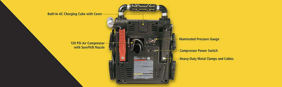 120 PSI air compressor with surefit nozzle, AC charging cube with cover, pressure gauge, metal clamp