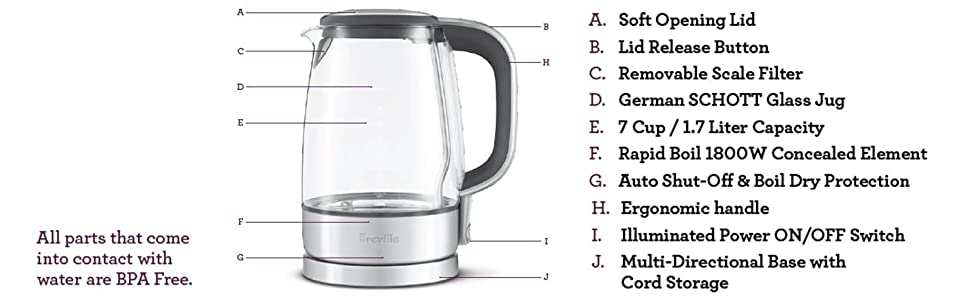Breville Brebke595xl Quot The Crystal Clear Quot Kettle Amazon Ca